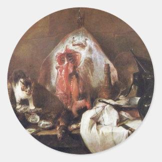 The Rays By Chardin Jean-Baptiste Siméon (Best Qua Round Stickers