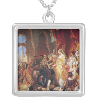 The Reception of Christopher Columbus Silver Plated Necklace