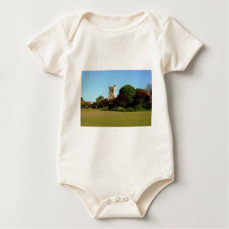 The Recreation Ground and Church at Wingrave Baby Bodysuit