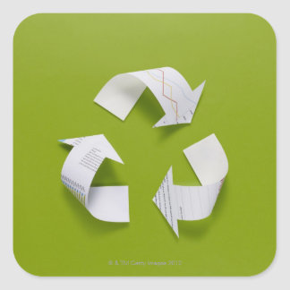 The recycling mark made from the data of paper square sticker