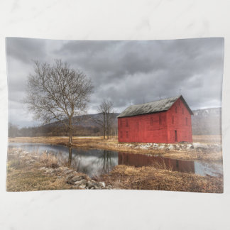 The Red Barn Reflecting in the Pond Winter Dish
