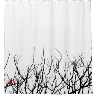 The Red Bird by Leslie Peppers Shower Curtain