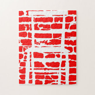 The Red Brick Wall With White Chair Jigsaw Puzzle