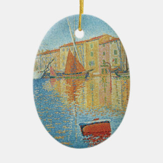 The Red Buoy by Paul Signac, Vintage Pointillism Ceramic Oval Decoration