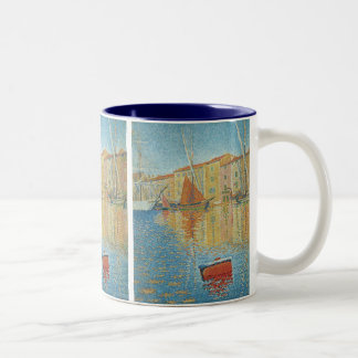 The Red Buoy by Paul Signac, Vintage Pointillism Two-Tone Coffee Mug