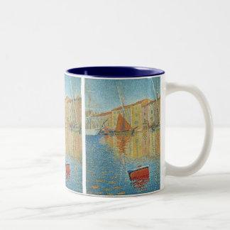 The Red Buoy by Paul Signac, Vintage Pointillism Two-Tone Coffee Mug