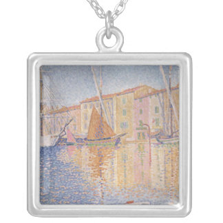 The Red Buoy, Saint Tropez, 1895 Silver Plated Necklace