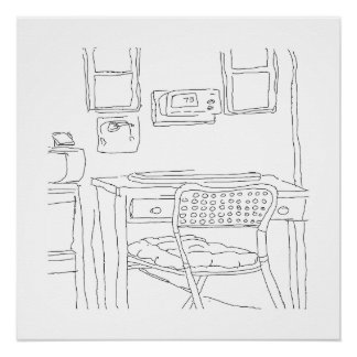 The Red Desk hand sketched poster