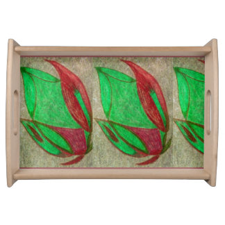 the red flower in bloom serving tray