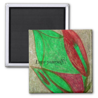 the red flower in bloom square magnet