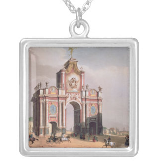 The Red Gate in Moscow Square Pendant Necklace