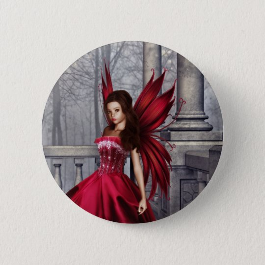The Red Glamour Fairy 6 Cm Round Badge