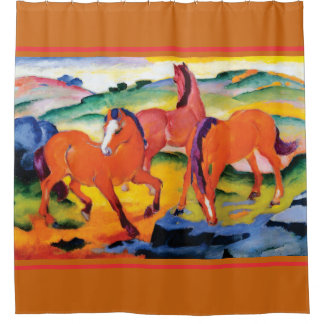The Red Horses by Franz Marc Shower Curtain