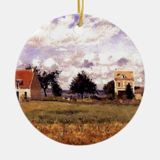 The Red House by Camille Pissarro Christmas Ornament