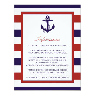 The Red & Navy Nautical Anchor Wedding Collection 11 Cm X 14 Cm Invitation Card