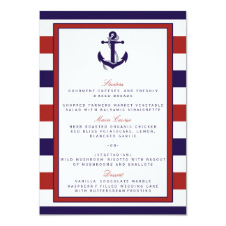 The Red & Navy Nautical Anchor Wedding Collection 11 Cm X 16 Cm Invitation Card