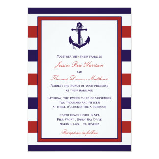 The Red & Navy Nautical Anchor Wedding Collection 13 Cm X 18 Cm Invitation Card