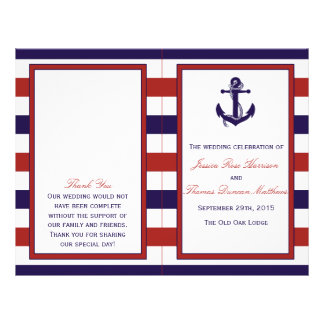 The Red & Navy Nautical Anchor Wedding Collection 21.5 Cm X 28 Cm Flyer
