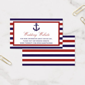The Red & Navy Nautical Anchor Wedding Collection Business Card