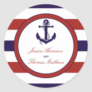 The Red & Navy Nautical Anchor Wedding Collection Classic Round Sticker