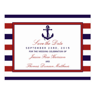 The Red & Navy Nautical Anchor Wedding Collection Postcard