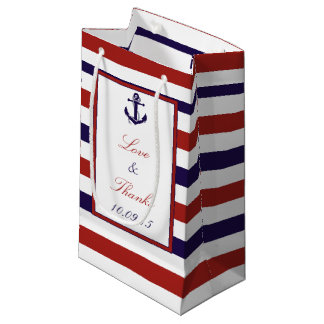 The Red & Navy Nautical Anchor Wedding Collection Small Gift Bag