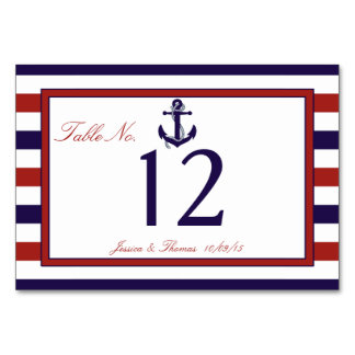 The Red & Navy Nautical Anchor Wedding Collection Table Card