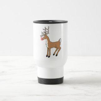 the red nose Reindeer Travel Mug