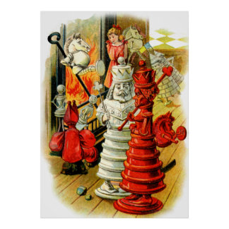 The Red Queen and the White King in Wonderland Poster
