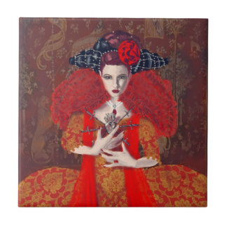 The Red Queen. Small Square Tile