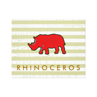the red rhinoceros stretched canvas prints
