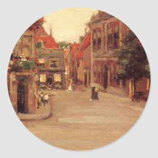 The Red Roofs of Haarlem, aka A Street in Holland Round Sticker