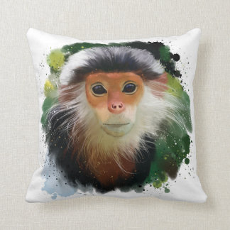 The red-shanked douc langur throw pillow