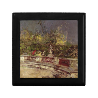 The Red Umbrella by Giovanni Boldini Small Square Gift Box