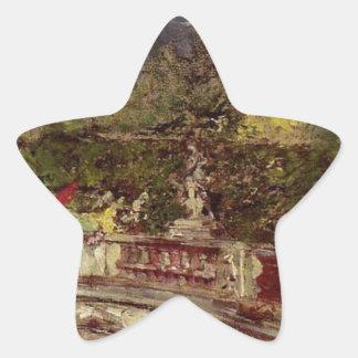 The Red Umbrella by Giovanni Boldini Star Sticker