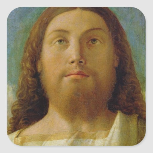 The Redeemer (oil on panel) Square Stickers
