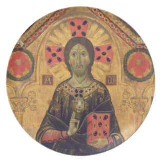 The Redeemer, Virgin and Saints, 1271 (tempera on Party Plates