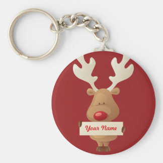 the reindeer Keychain Basic Round Button Keychain