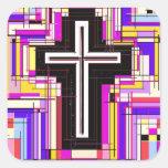 The Religious Christian Cross Square Sticker