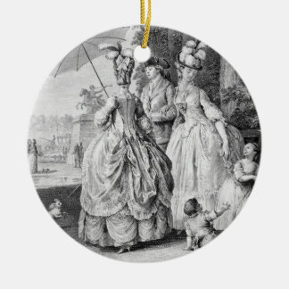 The Rendezvous at Marly, engraved by Carl Guttenbe Christmas Ornament