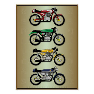 The Replicas (cafe racer motorcycle art poster) Poster