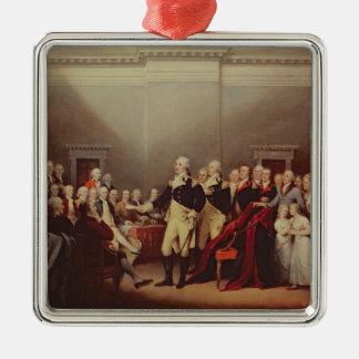 The Resignation of George Washington Silver-Colored Square Decoration