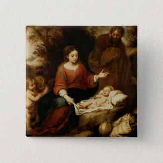 The Rest on the Flight into Egypt 15 Cm Square Badge