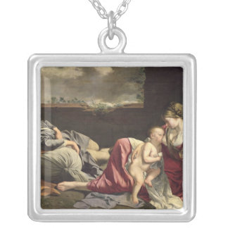The Rest on the Flight into Egypt, 1628 Silver Plated Necklace
