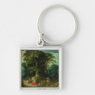 The Rest on the Flight into Egypt Silver-Colored Square Key Ring