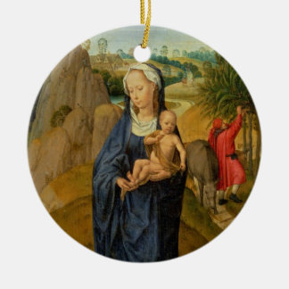 The Rest on the Flight into Egypt (oil on panel) Round Ceramic Decoration