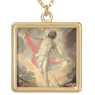 The Resurrection of Christ (oil on canvas) Gold Plated Necklace
