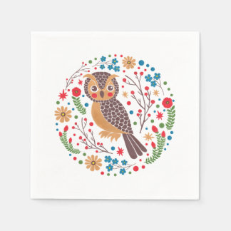 The Retro Horned Owl Paper Serviettes