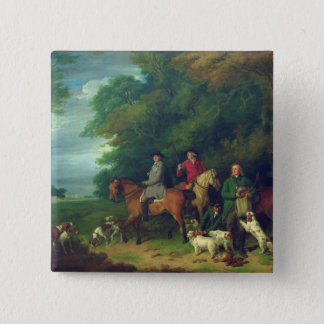 The Return from Shooting, 18th century 15 Cm Square Badge