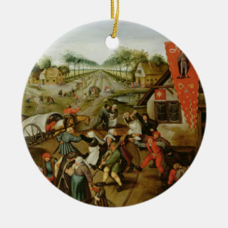 The Return from the Kermesse (oil on panel) Round Ceramic Decoration